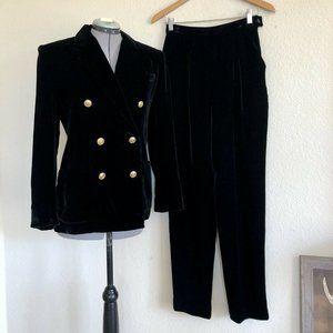 VTG RALPH LAUREN Black Velvet Blazer & Pant Suit